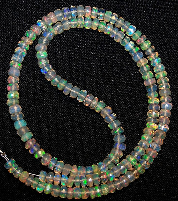 Super Metallic Fire Transparent Ethiopian Welo Opal Faceted Strand 4-4.5 MM 16 ""