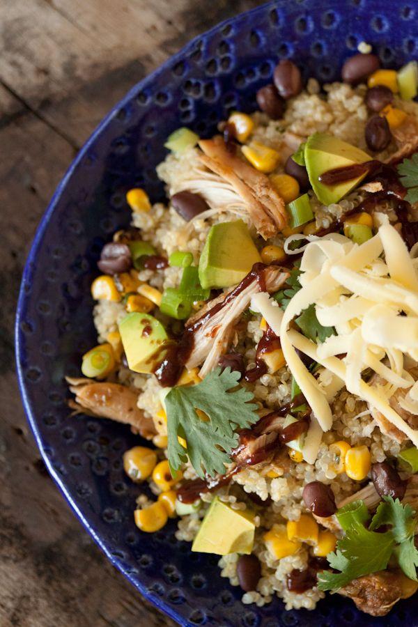 BBQ Chicken Quinoa Salad: Quinoasalad, Chicken Salad, Salad Recipes, Black Beans, Bbq Sauces, Bbq Chicken, Chicken Quinoa, Quinoa Salad, Healthy Recipes