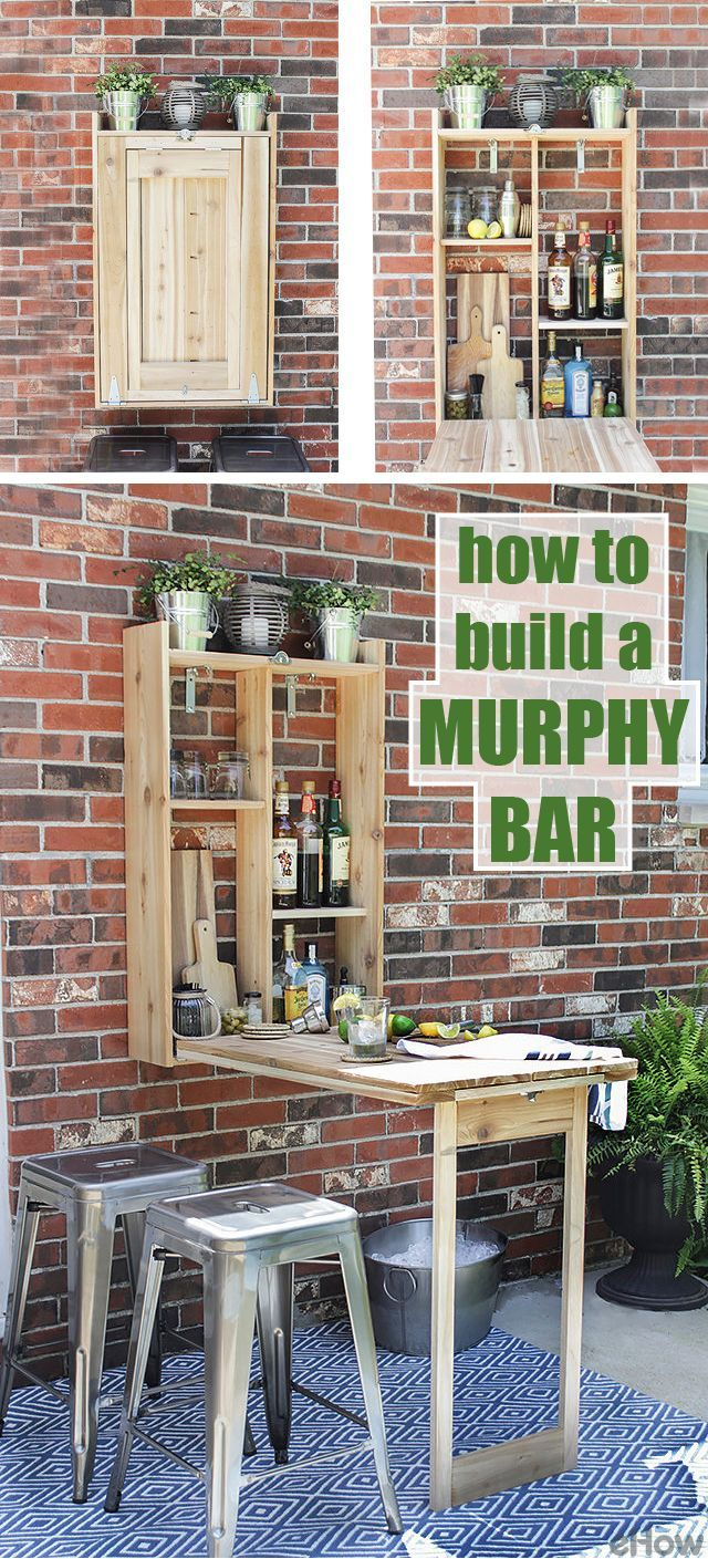 Larger scale for basement.Tight on space? We're obsessed with this built-in Murphy bar that is perfect for summer entertaining on your patio or deck, without taking up much space! DIYing this is so easy, you'll be just as obsessed as we are. http://www.ehow.com/how_12340780_build-murphy-bar.html?utm_source=pinterest.com&utm_medium=referral&utm_content=freestyle&utm_campaign=fanpage