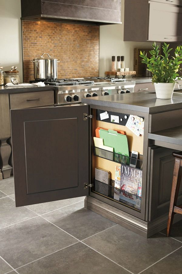 Add a hidden message center to the end of your kitchen base cabinet - OMG - love!