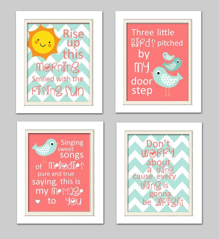 Nursery Quad, Mint green and coral nursery, Three little birds wall art, Bird Nursery, Set of 4 8X10, Mint, Coral by ChicWallArt on Etsy