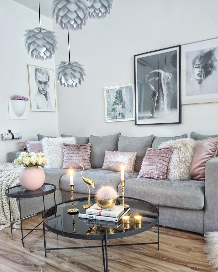 Cool grey interior with a pop of pink and gold to …