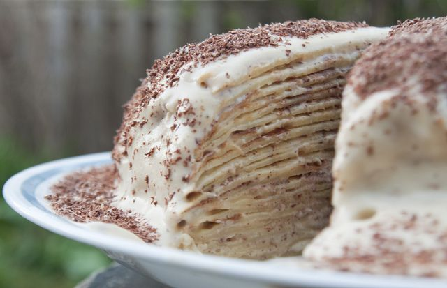Tiramisu Crepe Cake- I want to try making a crepe cake, but ever since Gordon Ramsey complained about one on Masterchef I'm not sure it would be all that great.