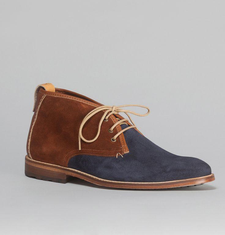 c5aece06f76 shoes on sale bleu marine chaussures derbies en toile et cuir gris et  marron m moustache
