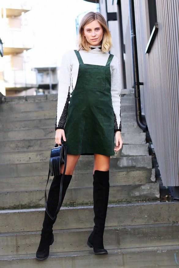 Green overall dress & over the knee boots. #style #fashion #streetstyle