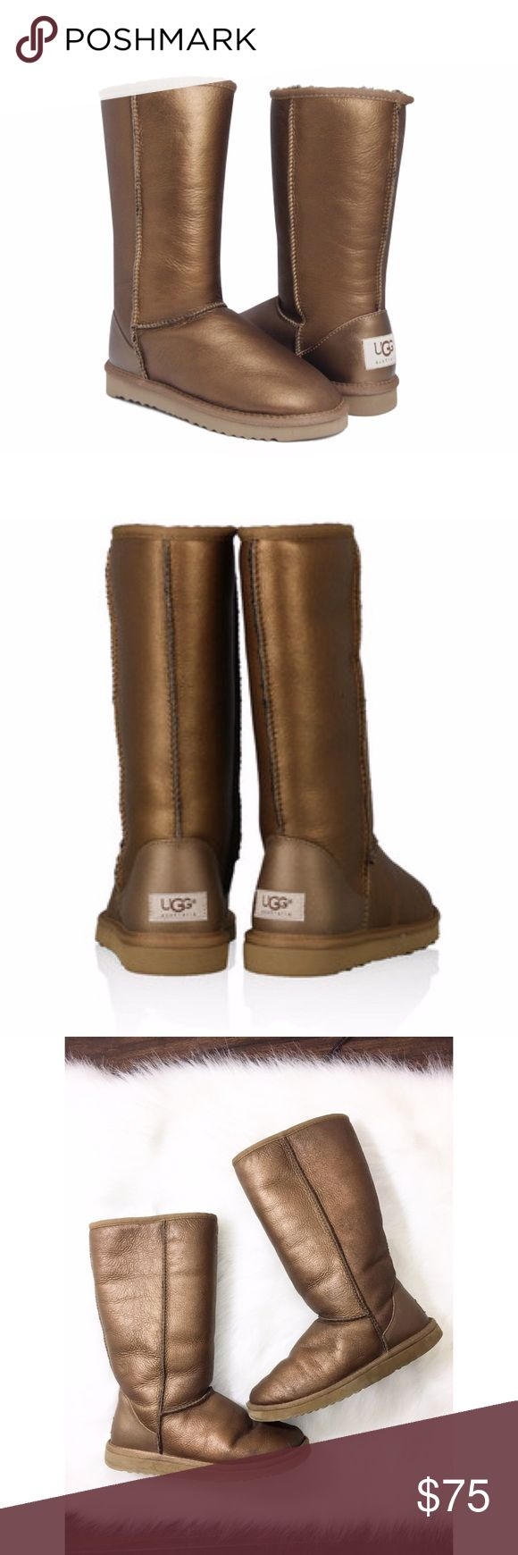 🌿Ugg classic tall bronze metallic Excellent condition, no flaws, rips, etc. The tag says 7w. No trades. I ship same or next day! ❤ UGG Shoes Winter & Rain Boots