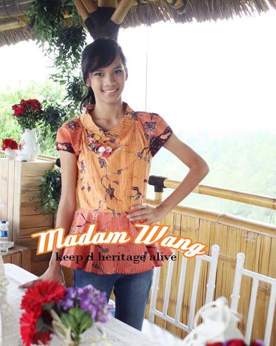 batik madura top, orange