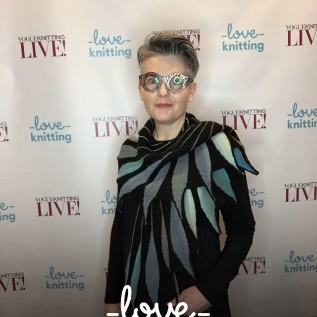 At VKLive in NYC wearing my Dreambird Shawl knit from @knitpicks Chroma yarn.  This shawl is shaped with short rows.  #knitlove #knittersofinstagram #kathrynbrenneoriginal #knitting #knittinginspiration #knittersofig #knitshawl #dreambirdshawl #vklive #vklivenyc #superknitters #vogueknittinglive #vogueknittinglivenyc #kathrynbrenne