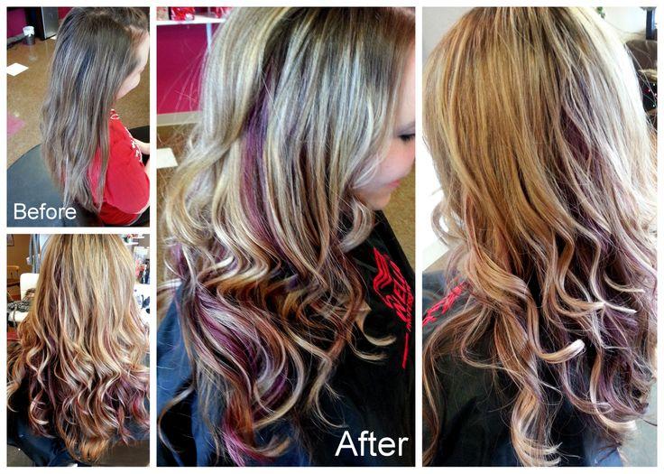 Blonde Balayage Highlights With Purple Peek A Boo S