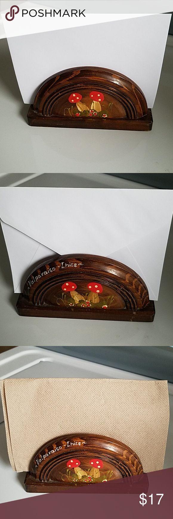 Vintage Wooden Mushroom Letter Napkin Holder Vinta…