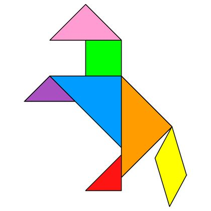 The solution for the Tangram puzzle #23 : Horse