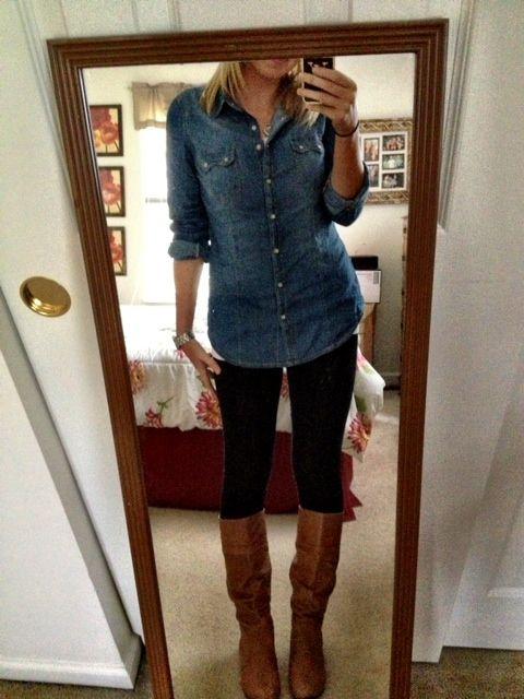 Jean shirt black leggings cognac boots | Boot Outfits ...