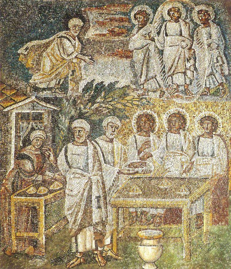 Santa Maria Maggiore, Roma, I mosaici , 432-440. Visita dei tre angeli ad Abramo