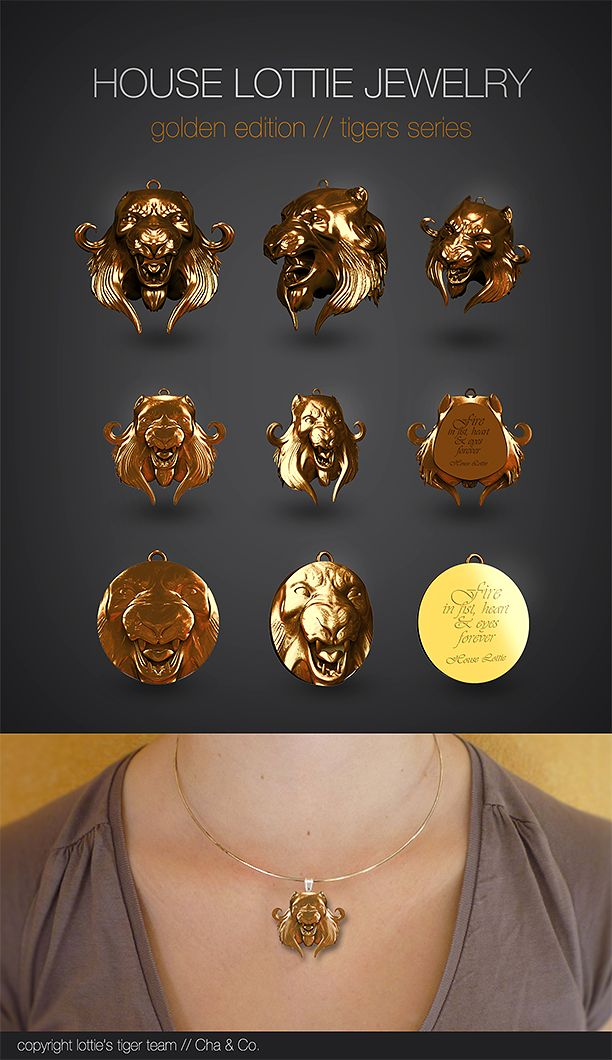 #jewels search for 3d print... / #Tigers series Recherche de #bijoux, #medaillons, #serie tigre. #house Lottie collection #concept Game of Thrones inspirations