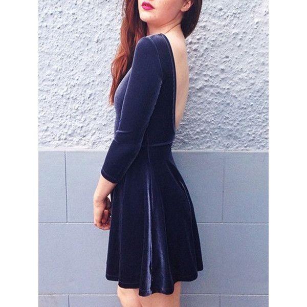 Navy Blue Velvet Open Back Mini Dress (82 BRL) ❤ liked on Polyvore featuring dresses, short velvet dress, navy blue dress, navy blue short dress, blue dresses and navy velvet dress