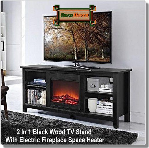 2 In 1 Black Wood TV Stand With Electric Fireplace Space Heater - Create a warm, entertaining space in any room of your home with this 2-in-1 Black Wood TV Stand with Electric Fireplace Space Heater. Crafted from high-grade MDF with a durable laminate finish to accommodate most flat panel TVs up to 60 inches. It features adjustable shelving to fit your components and a cable management system. Includes electric fireplace insert.