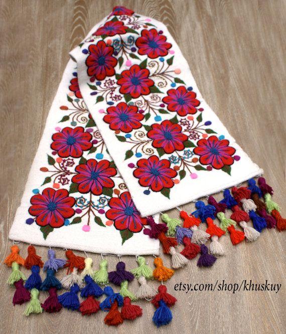 Corredor de la tabla peruana bordada flores ovino y por khuskuy