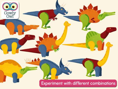 Dinosaur Mix by Cowly Owl Ltd - Create your own dinosaur! Mix and swap body parts then see it come to life. Explore the world, let out a roar and find eggs to change your dinosaur's appearance.  Mix up the body, head, tail and legs from a Tyrannosaurus, Spinosaurus, Triceratops, Stegosaurus and Brachiosaurus into many combinations.