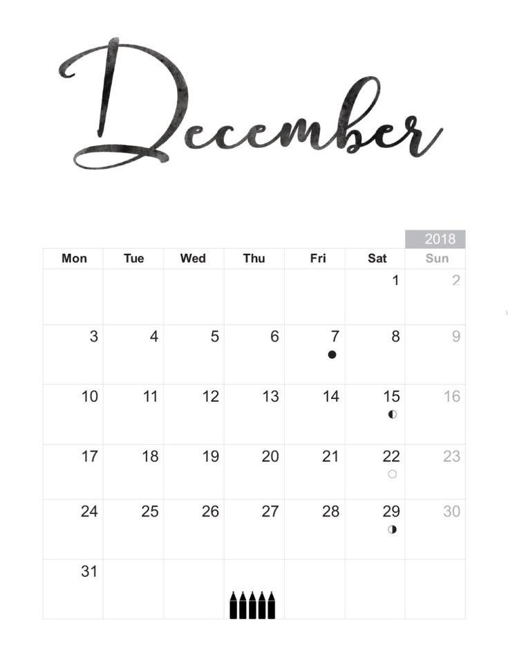 Blank Calendar Template December 2018 December 2018 Calendar