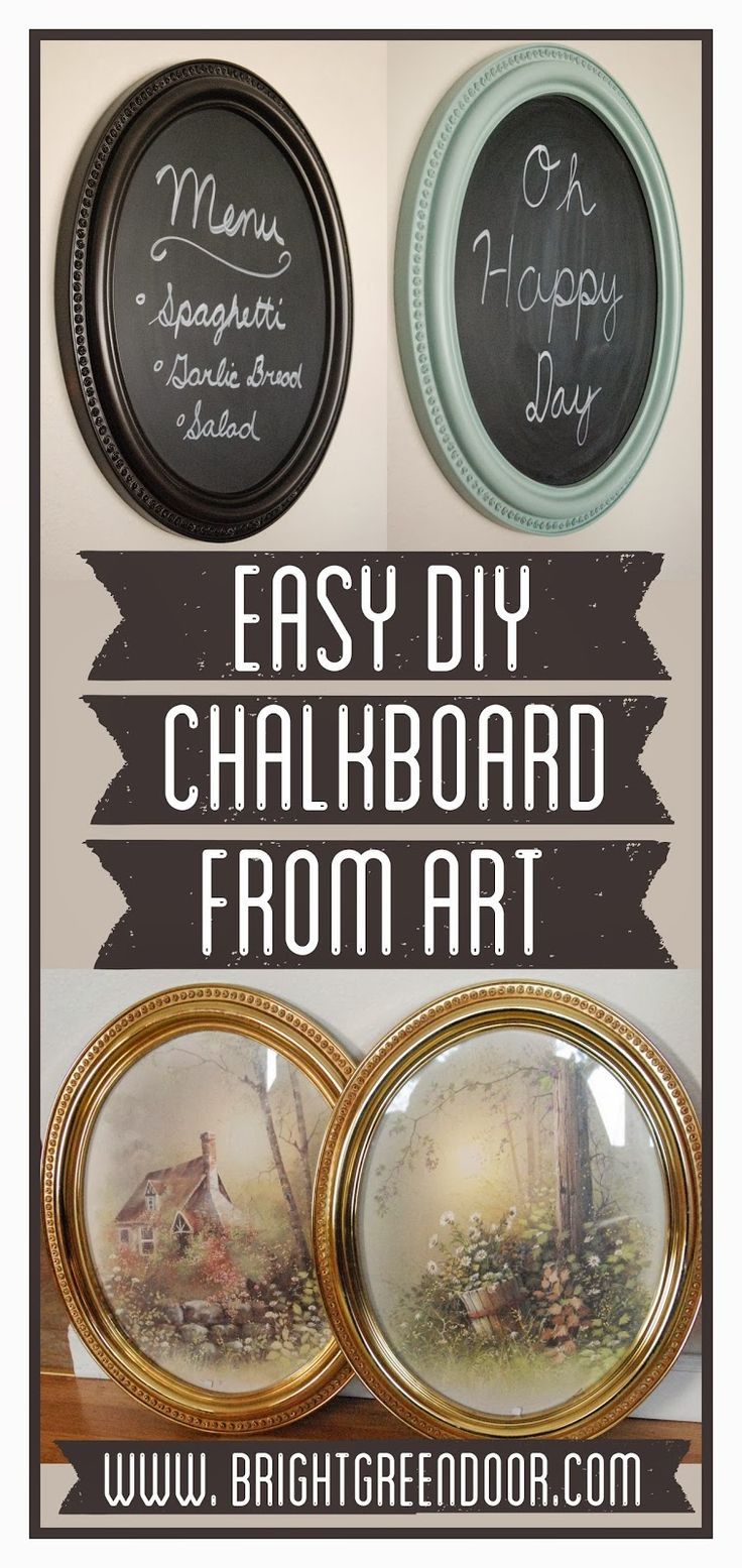 Easy DIY Chalkboard from Art made from ugly country scene glass-framed art.  Cheap but looks great in the end.