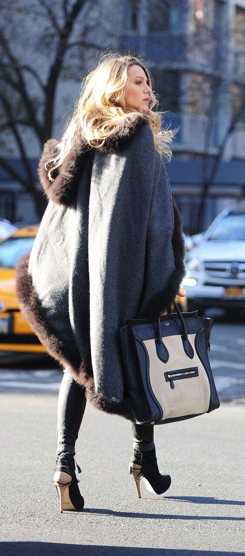 #street #style Blake Lively oversized gray coat @wachabuy