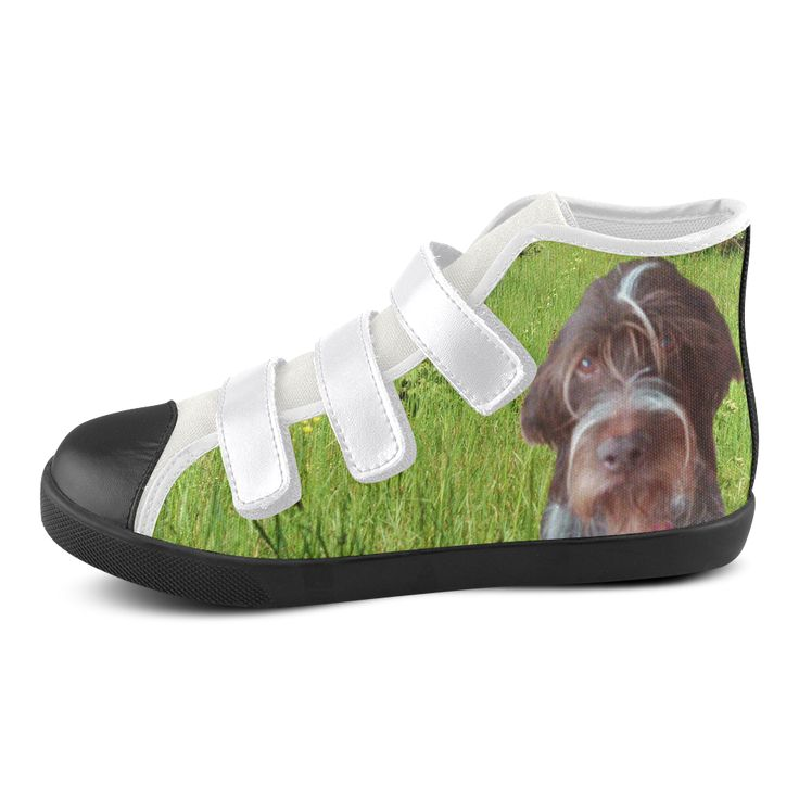 Dog and Flowers Velcro High Top Canvas Kid's Shoes. FREE Shipping. #artsadd #sneakers #dogs