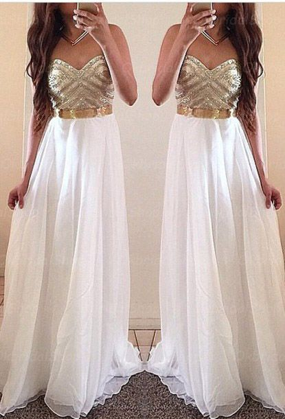 White and gold prom dress, homecoming dress