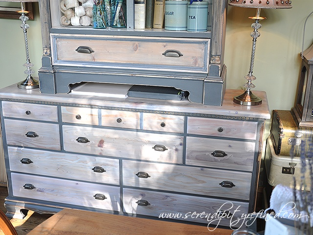 Grey Painted Pine Dresser Makeover With Natural And White
