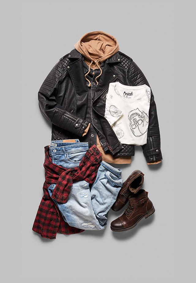 Punk inspired look: camel hoodie, white graphic tee with skull print, blue distressed jeans, brown leather boots, checkered red black shirt, black leather jacket | JACK & JONES