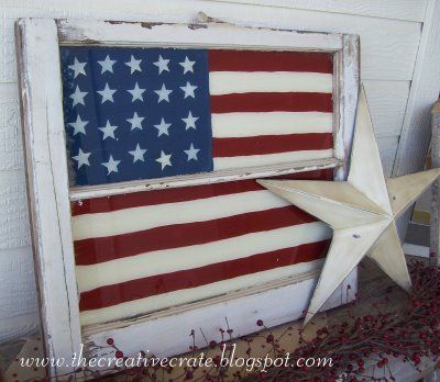 American Flag Painted WindowDecor, Crafts Ideas, Flags, Old Windows Crafts, Windows Ideas, Old Windows Panes, 4Th Of July, Diy, Painting Glasses Windows