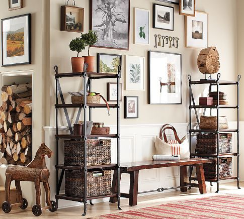 Wood Gallery Oversized Mat Frames | Pottery Barn - I like the mix of black, white and natural wood frames
