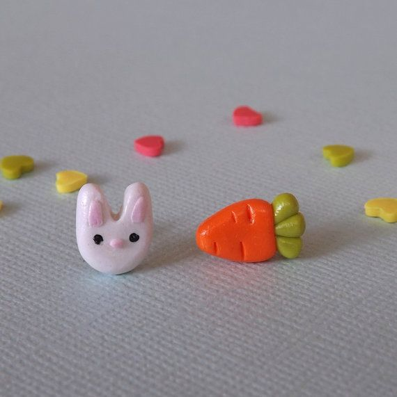 Bunny and Carrot Mismatch Earrings Plastic Post White Rabbit Studs