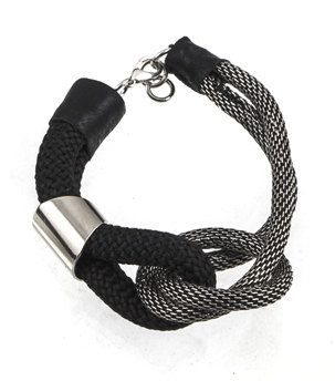 Rope & Chain Bracelet  Chunky Statement Black by EleannaKatsira