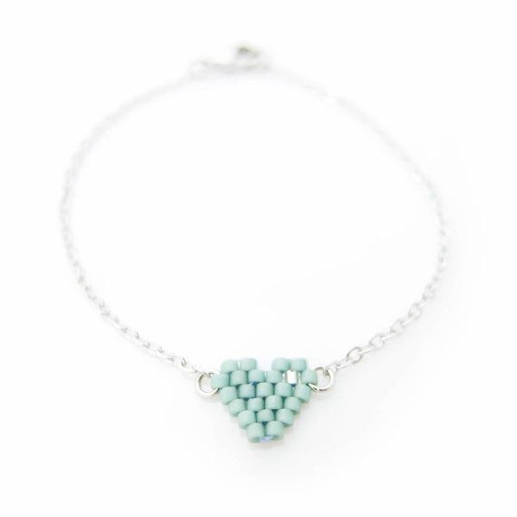 Mint Heart Bracelet with silver chain by JeannieRichard on Etsy