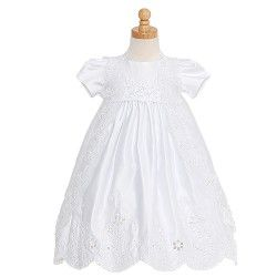 A beautiful Baptism dress for your baby or toddler girl by The Rain Kids. This puff sleeve satin dress has an organza sleeveless cape decorated with sequins and pearls. Matching bonnet included.