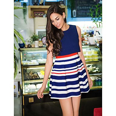 TS Two Piece Stripe Sleeveless A-Line Dress - Get Free delivery on all UK orders at Light in the Box - UK