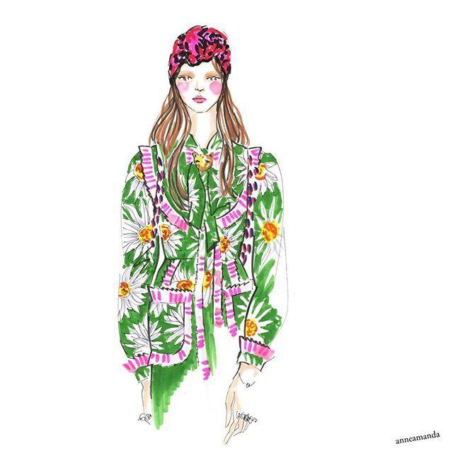 Happy Valentine's Day with Gucci ss17 florals! #gucci #guccidress #fashionillustration #fashionart #fashionweek #fashiondrawing #fashionsketches #copics #copicart #copicsketch #copicmarkers #floralfashion #springfashion