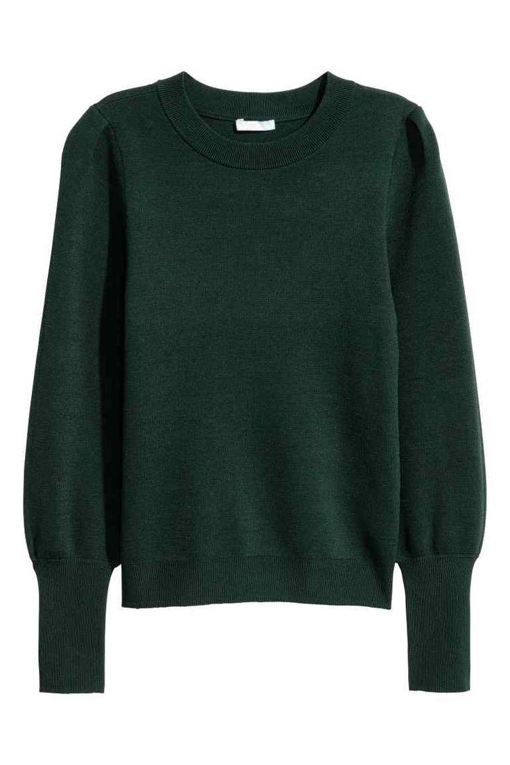 Finomkötött pulóver - Sötétzöld - NŐI | H&M HU