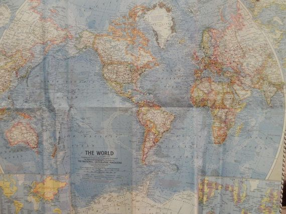 World Map,Large World Map,North South America Antarctica Asia Africa Oceania Arctic Europe Map,National Geographic Folded Map,1960 19x24 F4.  Better yet - buy map and make my own wall art.