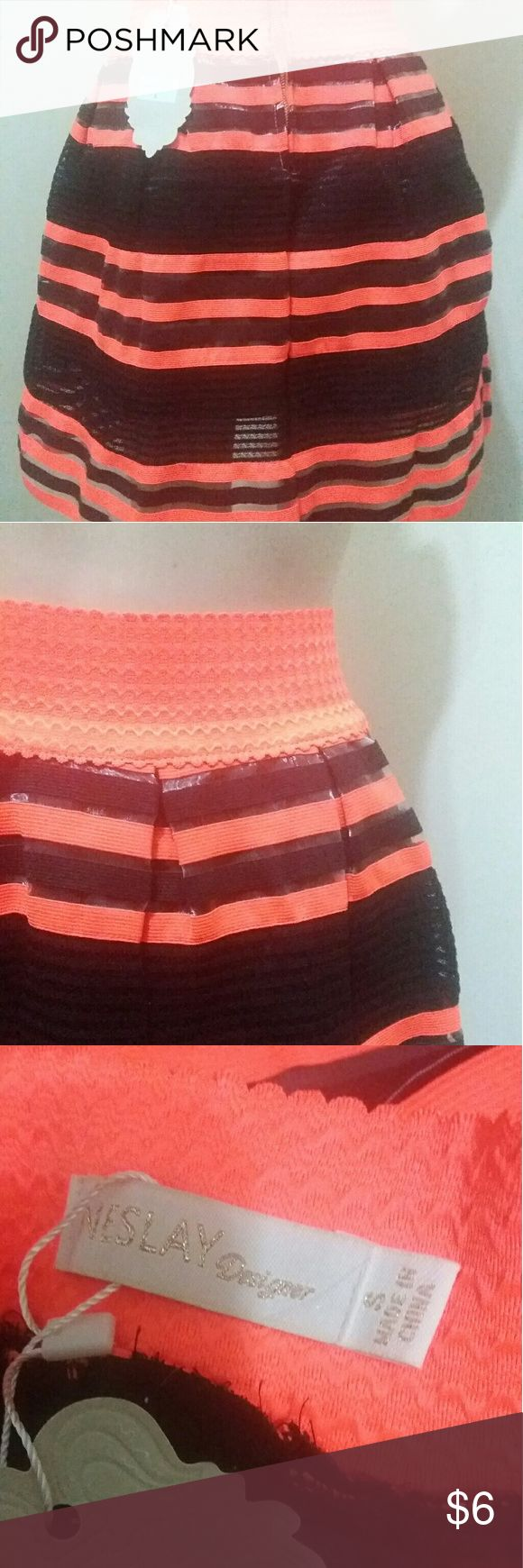 Neon orange stripe skater skirt NWT Size small stripe neon orange and black circle skirt with zipper in the back. New with tags. Brand tag but not price tag. Skirts Circle & Skater
