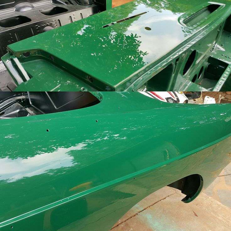 #MGB paint finish and polishing coming along brilliantly, next up a lot of assembly work.