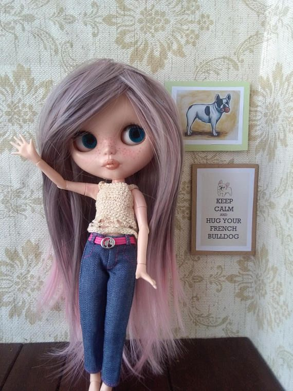 Parrucca per la bambola blythe Grigio e rosa