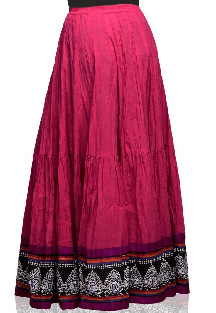 Fuschia Color Long Cotton Skirt