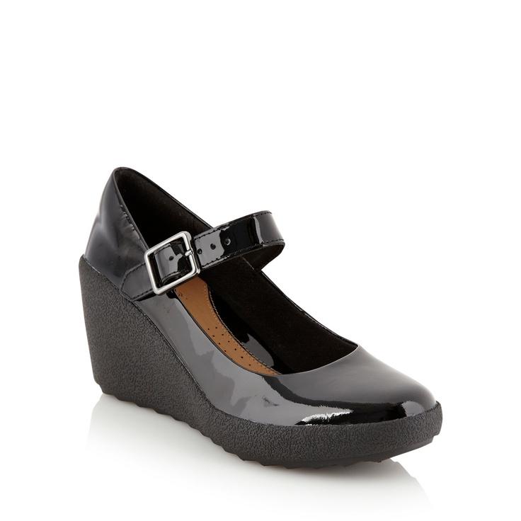 Patented black Mary Jane style wedges | Gorgeous ...
