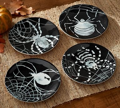 Spider Tidbit Plates, Mixed Set of 4 #potterybarn