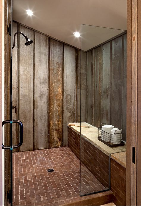"So cool! Reclaimed tin roof v-channel material lines the shower walls. Ceramic ""brick"" tile adds to the rustic appeal with ultimate durability.Dragonfly Designs.(Cool Pools Bedrooms)"