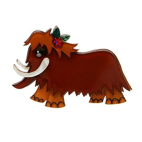 """Erstwilder Limited Edition Peaches of Prehistoria Brooch. """"Go ahead and tell us that Wooly Mammoths never sported such luscious lashes. Peaches here was there, were you?"""""""
