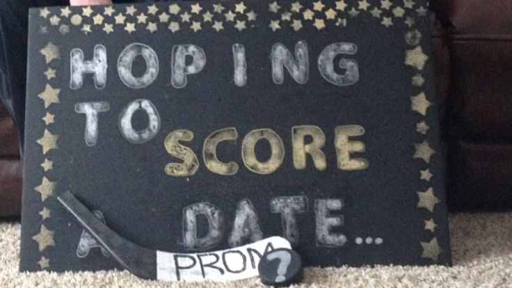 Prom invite. Hockey related. Cute creative way to ask out prom date.  My son came up with it all by himself!  Impressed!