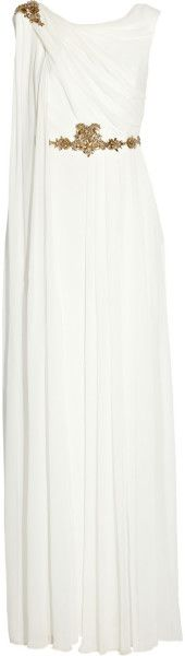 Draped Embellished Silk Chiffon Gown - Lyst