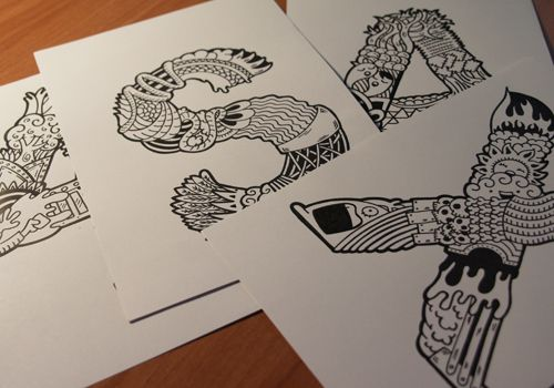 Illustrated typography by Edu Morente, via Behance
